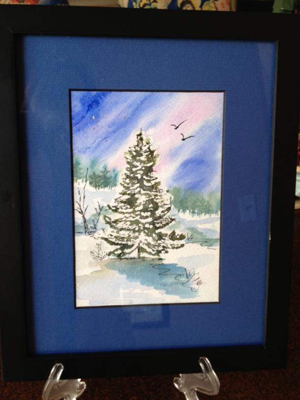 The Hubs promptly hung his watercolor painting in his office.
