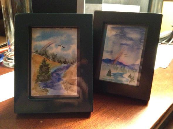Fog, rainbow, valley watercolor