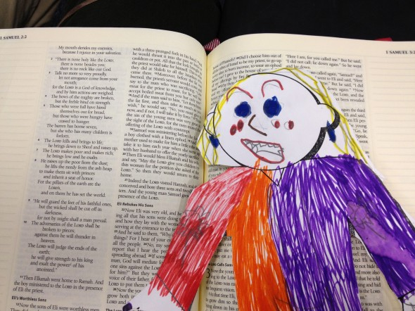 Even though you can't tell by her facial expression, Flat Stanleyette sat patiently at church and seemed interested in learning about God's Word.