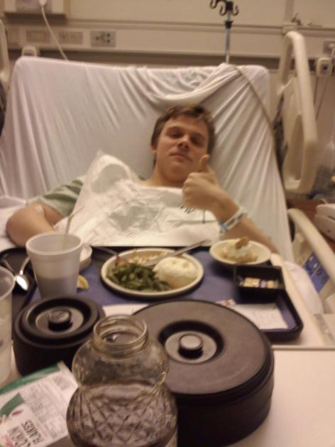Aaron post-surgery, no kale but I'm not complaining!