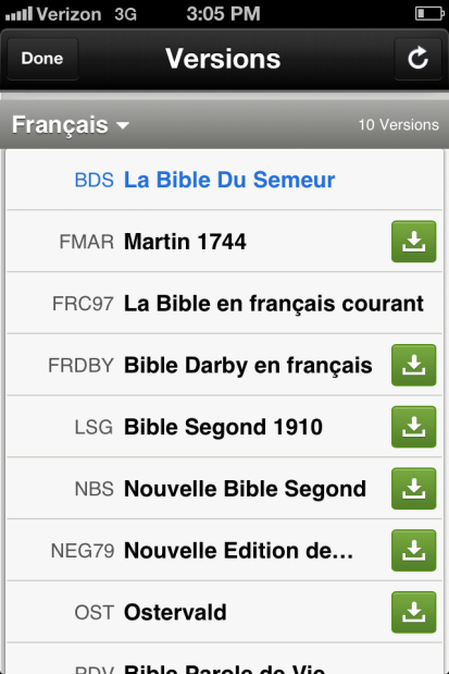 Different versions of the Bible in French! Formidable!